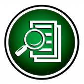 Magnifying glass round green icon - search the document.  — Stock Vector