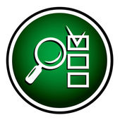Magnifying glass round green icon — Stock Vector