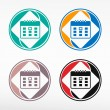 Vector illustration of detailed beautiful calendar icon - round  — Stock Vector #68288327