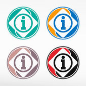 Info icon.Information sign. Round color set. — Stock Vector