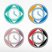 Alarm clock icon - round color set. — Stock Vector