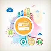 Bankovní karty a město na pozadí abstraktní barevné akvarel — Stock vektor