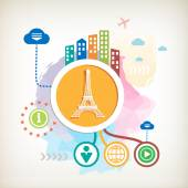 Eiffel tower and city on abstract colorful watercolor background — Stock Vector