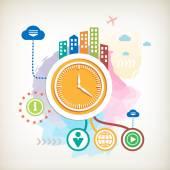 時計と抽象的なカラフルな水彩背景街 — ストックベクタ