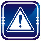 Warning sign on blue button — Stock Vector