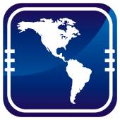 Americas map vector on blue button — Stock Vector