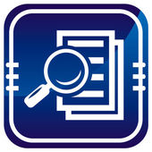 Magnifying glass - Search the document on blue button — Stock Vector