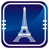 Eiffel Tower in Paris, France - on blue button — Stock Vector