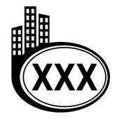 XXX black city icon — Stock Vector