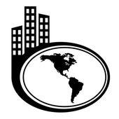 Americas map vector city icon — Stock Vector