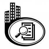 Szkło powiększające - Szukaj dokumentu. — Wektor stockowy