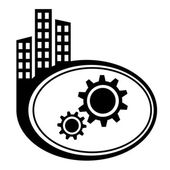 Gear icon. Black city icon — Stock Vector