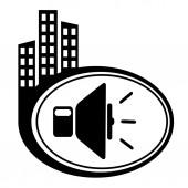 黒ボタン上のスピーカー音量アイコン — ストックベクタ