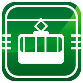 Cable way funicular green icon — Vector de stock