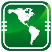 Americas map green icon — Stock Vector