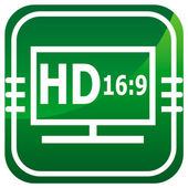 HD display green icon. — Stock Vector