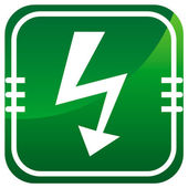 Lightning green glossy web icon — Stock Vector