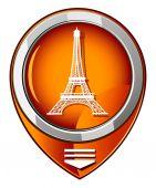 Eiffel Tower in Paris, France - orange pointer — Stock Vector