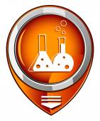 Flask with chemical reagent - orange pointer — Stock Vector