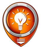 Light bulb orange pointer — Stock Vector