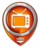Tv vektör yuvarlak turuncu işaretçi — Stok Vektör