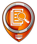 Magnifying glass round orange pointer - search the document. — Vector de stock