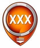 XXX round orange pointer — Stock Vector