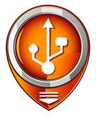 Usb orange pointer — Stock Vector
