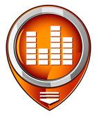 Sound control orange pointer — Stock Vector