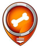 Dog bone icon. Orange map pointer — Cтоковый вектор