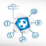 Football ball and sketch diagrams. — Stock Vector #68695417