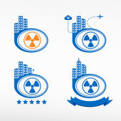 Radioactive icon on city background. — Stockvektor