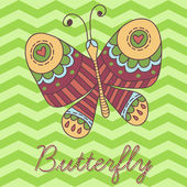 Doodle Butterfly postcard — Stock Vector