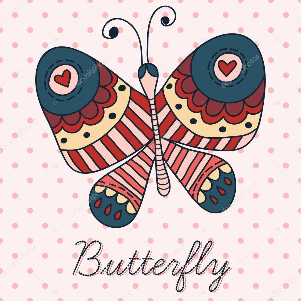 Нарисовать бабочку на открытке