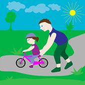 Pappa med sin dotter och en cykel. — Stockvektor