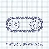 Cadena con piñones dibujo sobre fondo de hoja de papel cuadrado blanco — Vector de stock