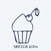 Cupcake with cherry sketch icon. Food symbol — Stock Vector