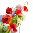 Colorful poppy flowers, watercolor design — Stock Photo #64807485