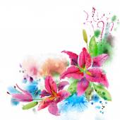 Beautiful background with watercolor flowers — Stock Photo