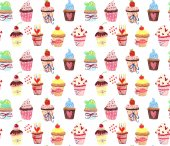Cute pattern with cupcakes drawing — Stock Photo