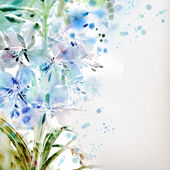 Watercolor painting. Blue flowers — Stock Photo