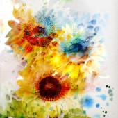 Watercolor painting with sunflowers — Stock Photo
