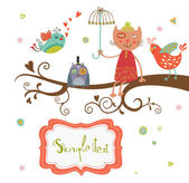 Cute Greeting card — Stock Vector