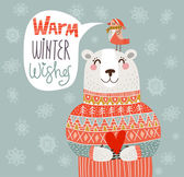 Warm winter wishes card — Stock Vector