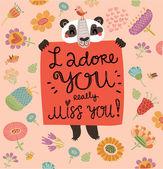 Cute loving panda — Stock Vector
