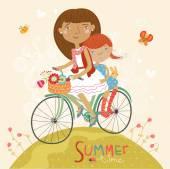 Couple on bicycle. Summer fun — Wektor stockowy