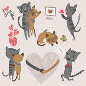 Sada funny koček milenců — Stock vektor