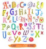Funny watercolor alphabet — Stock Vector