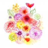 Watercolor flowers background — Stock Photo