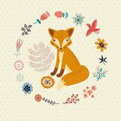 Schattig foxy en bloemen — Stockvector